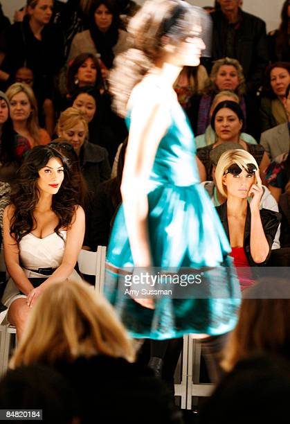 TV personality Kim Kardashian and Paris Hilton attend the Tracy Reese Fall 2009 fashion show during MercedesBenz Fashion Week in the Salon at Bryant...