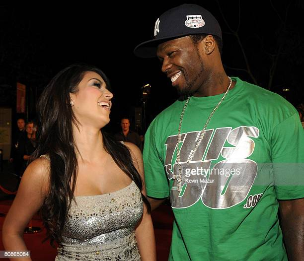 Personality Kim Kardashian and Rapper 50 Cent arrive at the MTV Australia Awards 2008 at the Australian Technology Park Redfern on April 26 2008 in...
