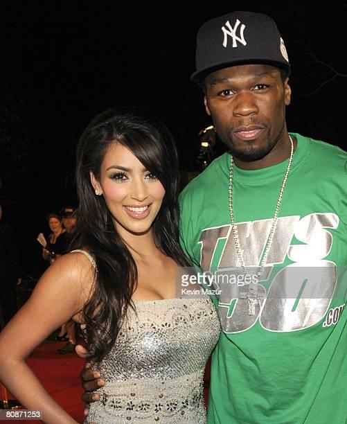 TV personality Kim Kardashian and rapper 50 Cent arrive at the MTV Australia Awards 2008 at the Australian Technology Park Redfern on April 26 2008...
