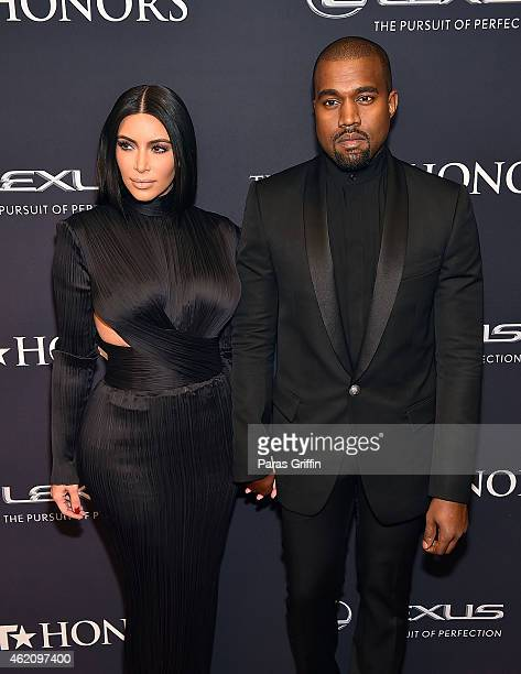TV personality Kim Kardashian and rapper Kanye West attend The BET Honors 2015 at Warner Theatre on January 24 2015 in Washington DC