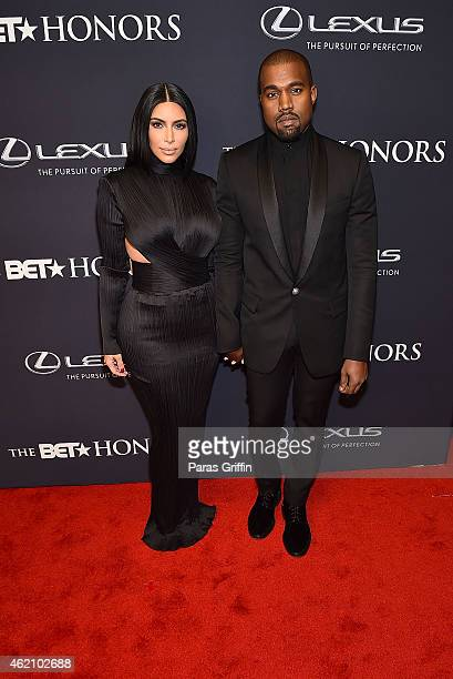 TV personality Kim Kardashian and rapper Kanye West attend 'The BET Honors' 2015 at Warner Theatre on January 24 2015 in Washington DC