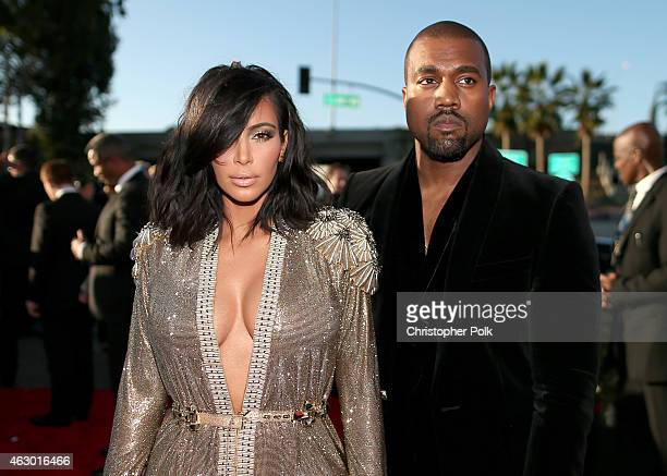 TV personality Kim Kardashian and recording artist Kanye West attend The 57th Annual GRAMMY Awards at the STAPLES Center on February 8 2015 in Los...
