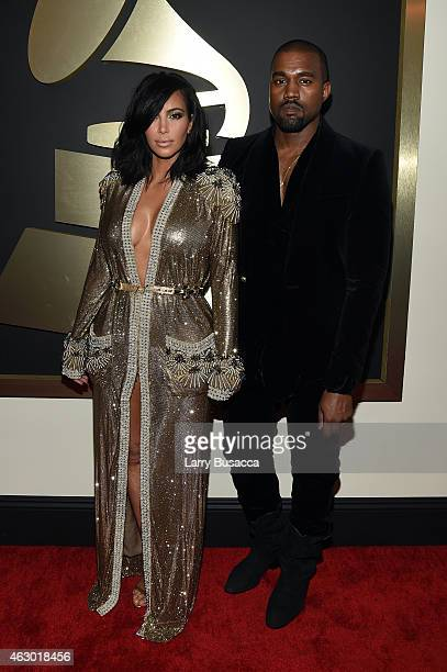 Personality Kim Kardashian and recording artist Kanye West attend The 57th Annual GRAMMY Awards at the STAPLES Center on February 8 2015 in Los...