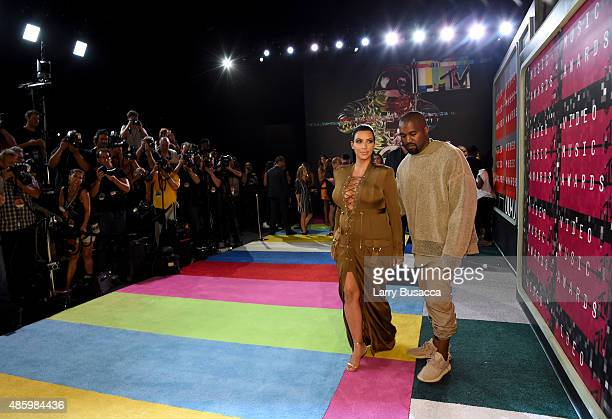 TV personality Kim Kardashian and recording artist Kayne West attend the 2015 MTV Video Music Awards at Microsoft Theater on August 30 2015 in Los...