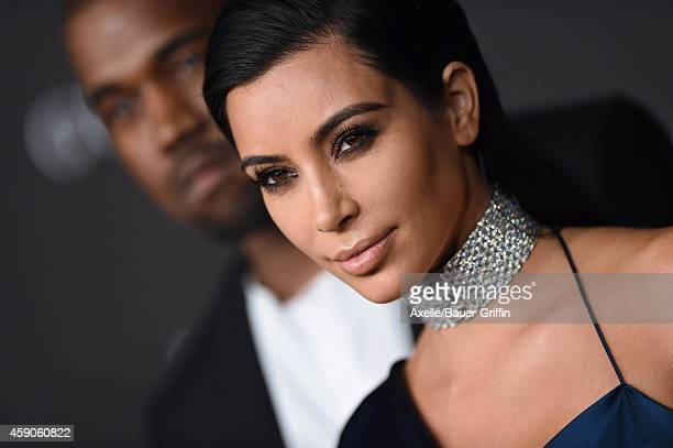 Personality Kim Kardashian and singer Kanye West attend the 2014 LACMA Art + Film Gala Honoring Barbara Kruger And Quentin Tarantino Presented By...