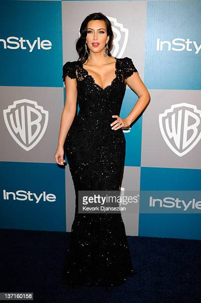 Personality Kim Kardashian arrives at 13th Annual Warner Bros And InStyle Golden Globe Awards After Party at The Beverly Hilton hotel on January 15...
