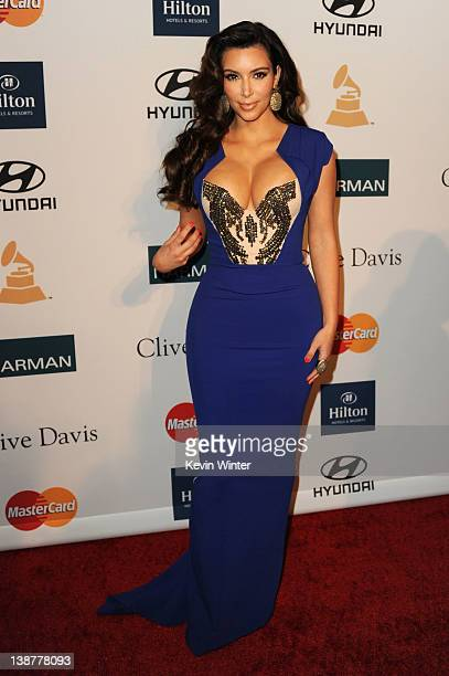 Personality Kim Kardashian arrives at Clive Davis and the Recording Academy's 2012 PreGRAMMY Gala and Salute to Industry Icons Honoring Richard...