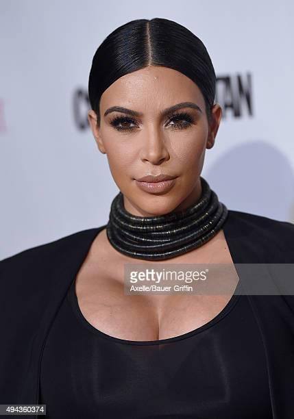 Personality Kim Kardashian arrives at Cosmopolitan Magazine's 50th Birthday Celebration at Ysabel on October 12, 2015 in West Hollywood, California.