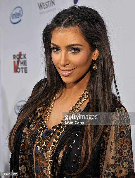 TV personality Kim Kardashian arrives at Rock The Vote Hosted by Christina Aguilera held at the Esquire House Hollywood Hills on September 25 2008 in...