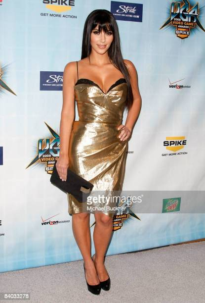 TV personality Kim Kardashian arrives at Spike TV's 2008 'Video Game Awards' held at Sony Pictures' Studios on December 14 2008 in Culver City...