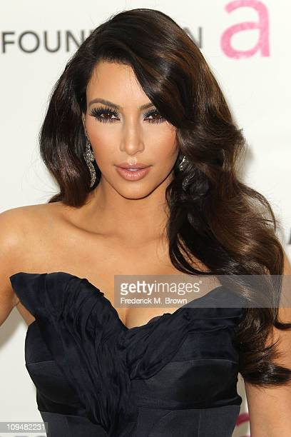 TV personality Kim Kardashian arrives at the 19th Annual Elton John AIDS Foundation's Oscar viewing party held at the Pacific Design Center on...