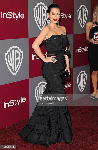 TV personality Kim Kardashian arrives at the 2011 InStyle/Warner Brothers Golden Globes Party at The Beverly Hilton hotel on January 16 2011 in...