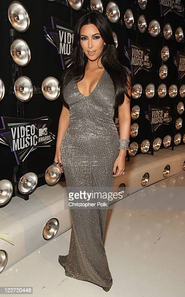 Personality Kim Kardashian arrives at the 2011 MTV Video Music Awards at Nokia Theatre LA LIVE on August 28 2011 in Los Angeles California