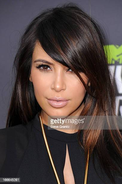 TV personality Kim Kardashian arrives at the 2013 MTV Movie Awards at Sony Pictures Studios on April 14 2013 in Culver City California