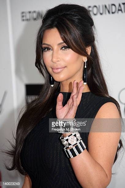 Personality Kim Kardashian arrives at the 20th Annual Elton John AIDS Foundation's Oscar Viewing Party held at West Hollywood Park on February 26...