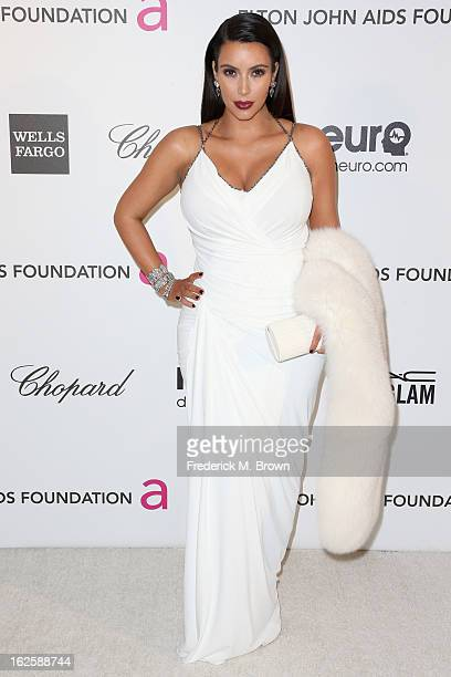 Personality Kim Kardashian arrives at the 21st Annual Elton John AIDS Foundation's Oscar Viewing Party on February 24, 2013 in Los Angeles,...