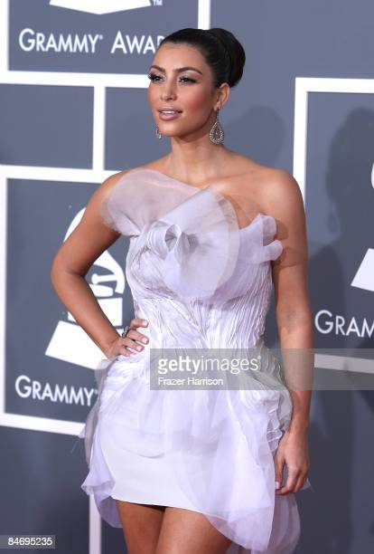 TV personality Kim Kardashian arrives at the 51st Annual Grammy Awards held at the Staples Center on February 8 2009 in Los Angeles California