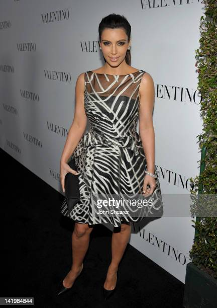 TV personality Kim Kardashian arrives at the Valentino Rodeo Drive Flagship Opening on March 27 2012 in Beverly Hills California