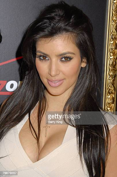 TV personality Kim Kardashian arrives at the Verizon Wireless and People party held at Avalon Hollywood on February 8 2008 in Hollywood California