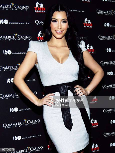 """Personality Kim Kardashian arrives to box for charity on """"Keeping up with the Kardashian's"""" Season 4 at Commerce Casino on November 3, 2009 in City..."""