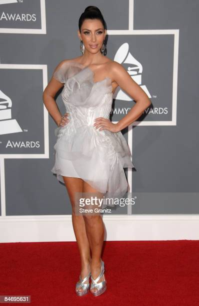 TV personality Kim Kardashian arrives to the 51st Annual GRAMMY Awards at the Staples Center on February 8 2009 in Los Angeles California