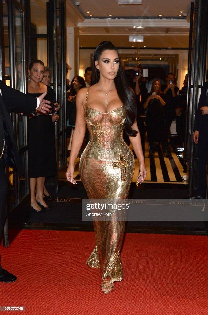 TV Personality Kim Kardashian attends as The Mark Hotel celebrates the 2018 Met Gala at The Mark Hotel on May 7, 2018 in New York City.
