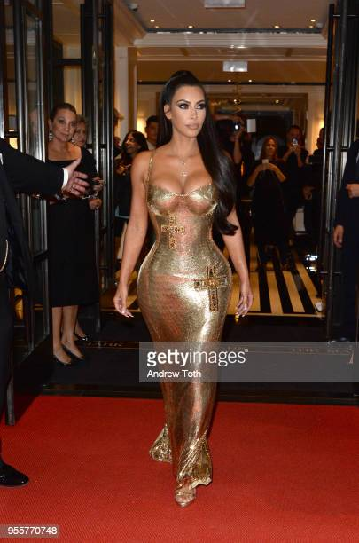 Personality Kim Kardashian attends as The Mark Hotel celebrates the 2018 Met Gala at The Mark Hotel on May 7 2018 in New York City