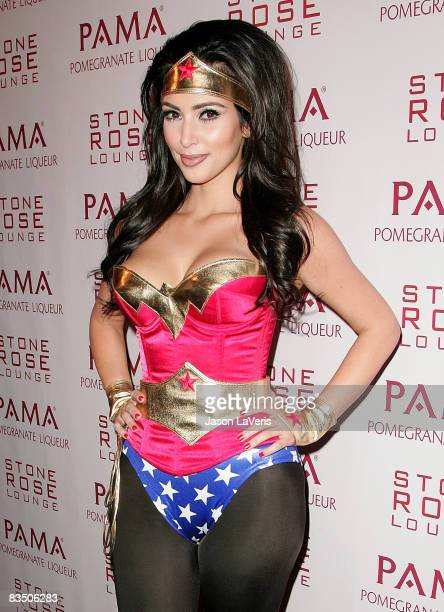 Personality Kim Kardashian attends her Halloween Masquerade at Stone Rose on October 30, 2008 in Los Angeles, California.