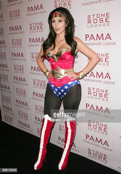 TV personality Kim Kardashian attends Kim Kardashian's Halloween Masquerade at Stone Rose on October 30 2008 in Los Angeles California