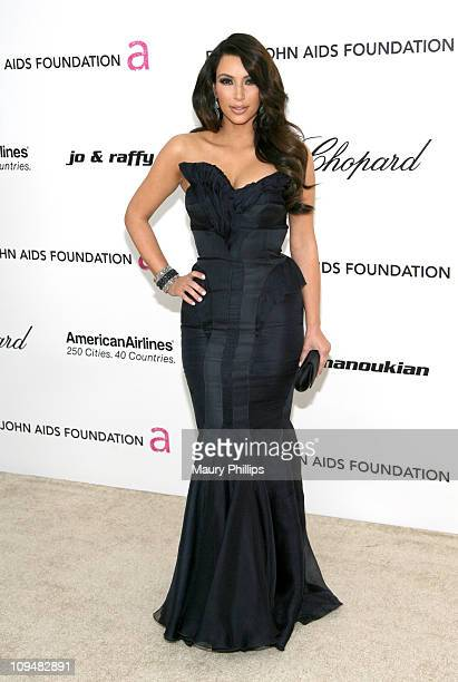 TV personality Kim Kardashian attends the 19th Annual Elton John AIDS Foundation's Oscar viewing party held at the Pacific Design Center on February...