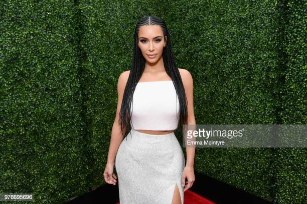 Personality Kim Kardashian attends the 2018 MTV Movie And TV Awards at Barker Hangar on June 16 2018 in Santa Monica California