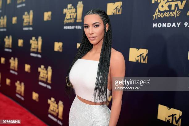 TV personality Kim Kardashian attends the 2018 MTV Movie And TV Awards at Barker Hangar on June 16 2018 in Santa Monica California
