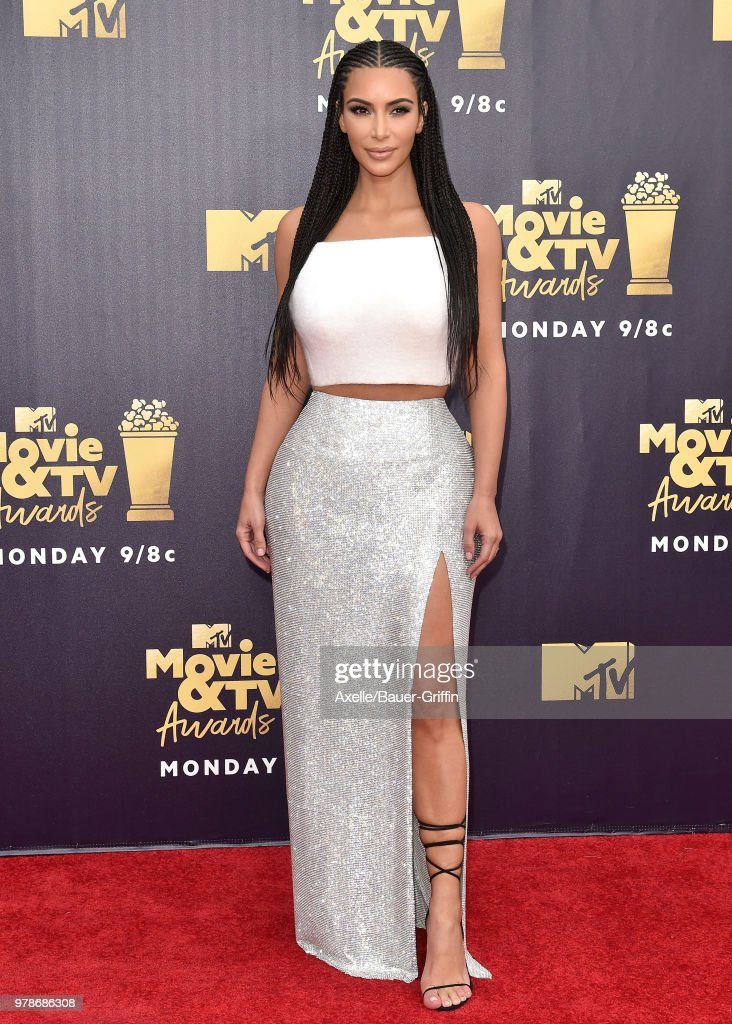 TV personality Kim Kardashian attends the 2018 MTV Movie And TV Awards at Barker Hangar on June 16, 2018 in Santa Monica, California.