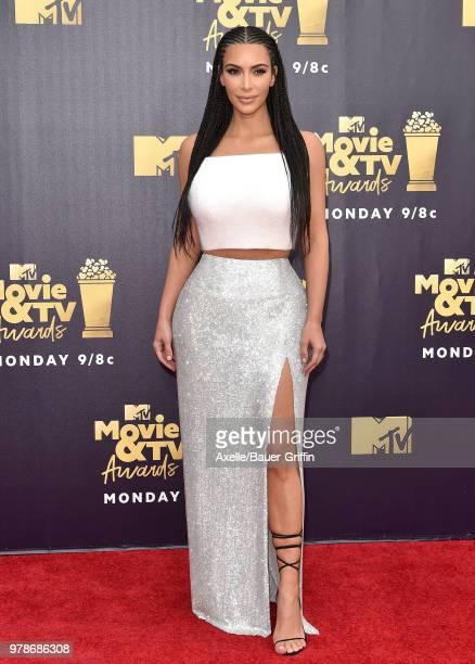 TV personality Kim Kardashian attends the 2018 MTV Movie And TV Awards at Barker Hangar on June 16 2018 in Santa Monica California