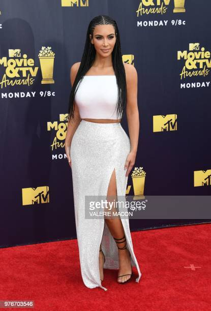 US TV personality Kim Kardashian attends the 2018 MTV Movie TV awards at the Barker Hangar in Santa Monica on June 16 2018 This year's show is not...