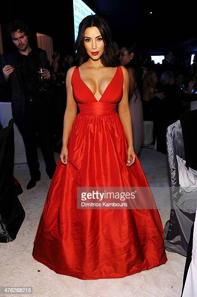 TV personality Kim Kardashian attends the 22nd Annual Elton John AIDS Foundation Academy Awards Viewing Party at The City of West Hollywood Park on...