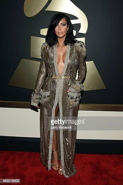 Personality Kim Kardashian attends The 57th Annual GRAMMY Awards at the STAPLES Center on February 8, 2015 in Los Angeles, California.
