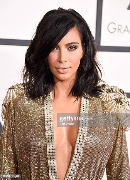 TV personality Kim Kardashian attends The 57th Annual GRAMMY Awards at the STAPLES Center on February 8 2015 in Los Angeles California