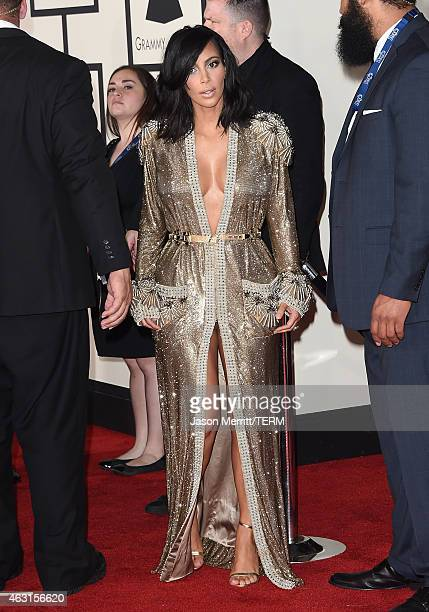 Personality Kim Kardashian attends The 57th Annual GRAMMY Awards at the STAPLES Center on February 8 2015 in Los Angeles California
