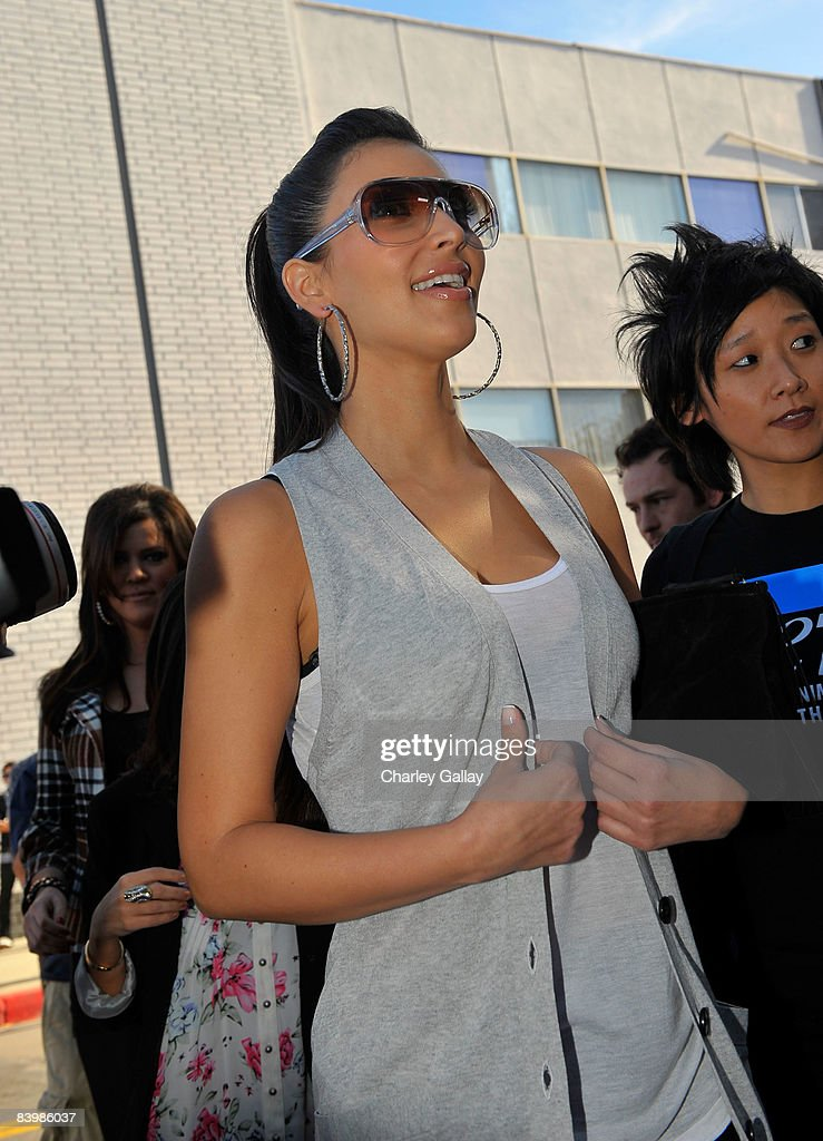TV personality Kim Kardashian attends the unveiling of sister Khloe Kardashian's PETA 'Fur? I'd Rather Go Naked' billboard on December 10, 2008 in Los Angeles, California.