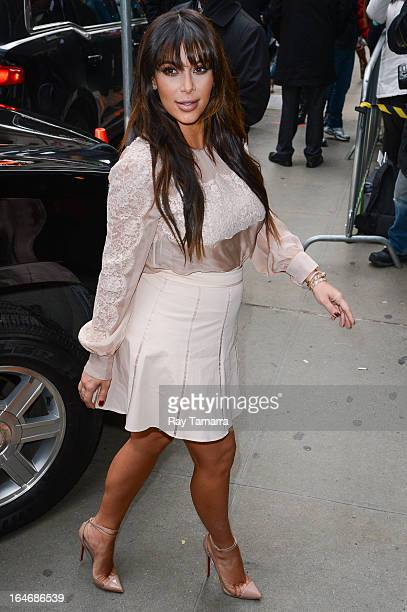 TV personality Kim Kardashian enters the Good Morning America taping at the ABC Times Square Studios on March 26 2013 in New York City