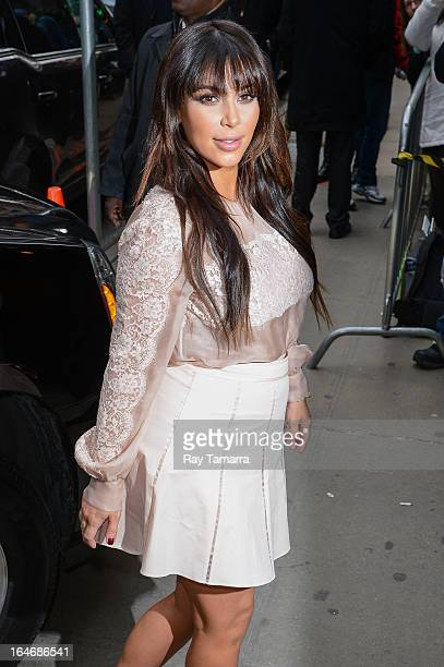TV personality Kim Kardashian enters the 'Good Morning America' taping at the ABC Times Square Studios on March 26 2013 in New York City