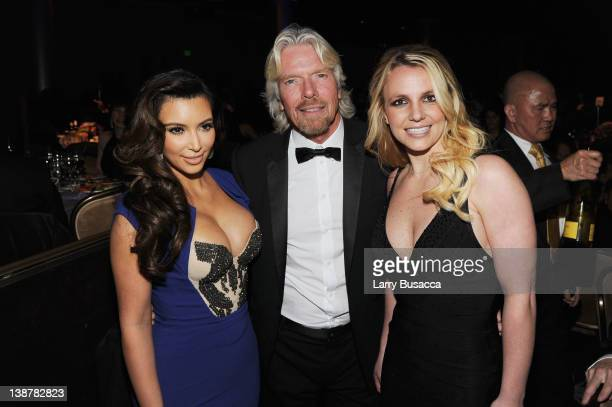 Personality Kim Kardashian, Honoree Sir Richard Branson and Singer Britney Spears attend Clive Davis and the Recording Academy's 2012 Pre-GRAMMY Gala...