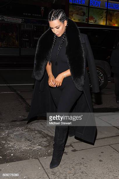 TV personality Kim Kardashian is seen on the streets of Manhattan on February 9 2016 in New York City