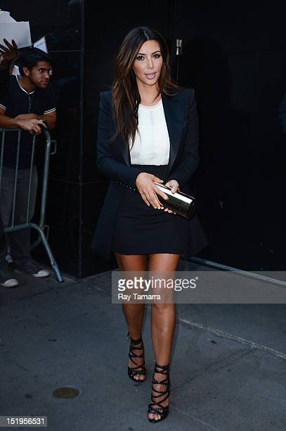 TV personality Kim Kardashian leaves the 'Good Morning America' taping at the ABC Times Square Studios on September 13 2012 in New York City