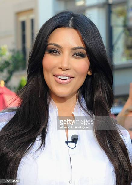 TV personality Kim Kardashian visits the set of Extra at The Grove on December 2 2010 in Los Angeles California