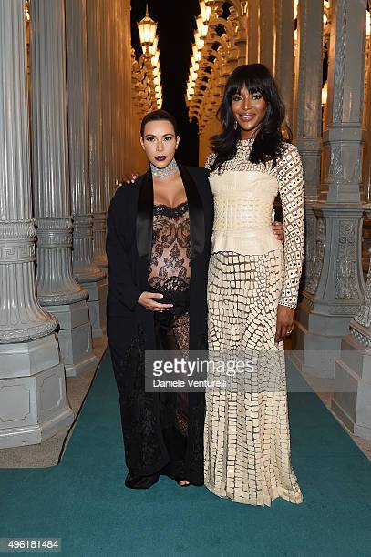 Personality Kim Kardashian West and model Naomi Campbell attend LACMA 2015 Art+Film Gala Honoring James Turrell and Alejandro G Iñárritu, Presented...