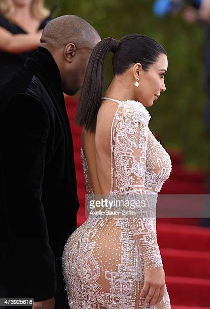 TV personality Kim Kardashian West and recording artist Kanye West attend the 'China Through The Looking Glass' Costume Institute Benefit Gala at the...