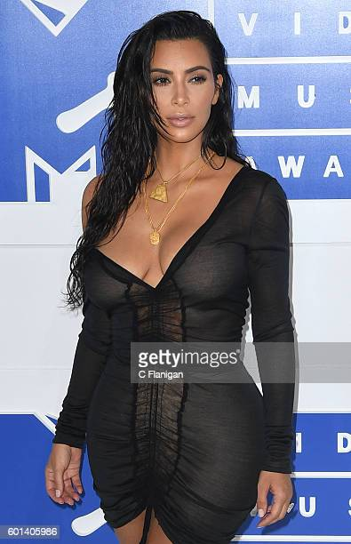 TV personality Kim Kardashian West arrives at the 2016 MTV Video Music Awards at Madison Square Garden on August 28 2016 in New York City