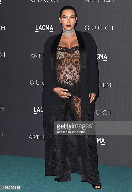 TV personality Kim Kardashian West arrives at the LACMA 2015 ArtFilm Gala Honoring James Turrell And Alejandro G Inarritu Presented By Gucci at LACMA...